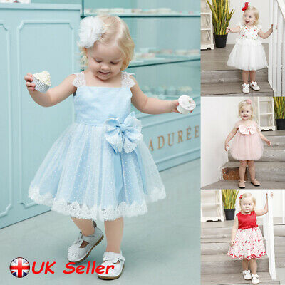 Baby Kids Girls Bowknot Wedding Princess Dress Lace Ball Gown Party Prom Dresses