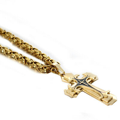 MEN Chain Silver Gold Byzantine Stainless Steel Cross Pendant Necklace HOT