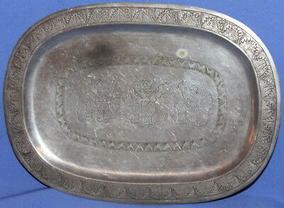 Antique Asian Ornate Metal Engraved serving tray