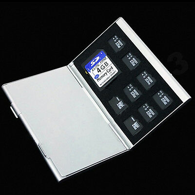 Metal Aluminum Micro TF SD MMC Memory Card Storage Holder tecter Case