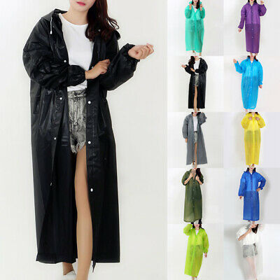 New Unisex Clear PVC Raincoat Rain Coat Hooded Jacket Poncho Rainwear Solid