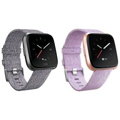 5X(Replacement Woven Canvas Nylon Band Strap Wristband For -Fitbit Versa Wat K7)