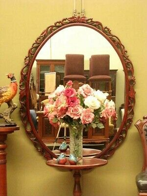 LARGE CARVED MAHOGANY OVAL WALL / OVERMANTLE  MIRROR #1~ BEAUTIFUL DETAIL c2000s