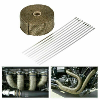 Heat Resistant 2000F Exhaust Wrap Titanium Gold 10M*50MM+10 Stainless Steel Ties