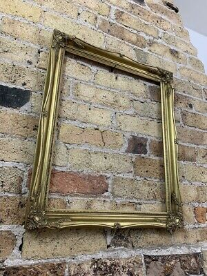Vintage Rococo Baroque Gold Gilt Gesso Detail Wooden Picture Frame, Medium Large