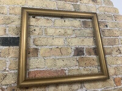 Antique Ornate Gold Gilt & Gesso Detail Wooden Picture Frame, Medium, Victorian