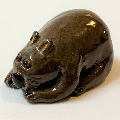 Hairy Nosed Wombat Handcrafted Glazed Pottery Figurine Ornament, 5.5cm Long