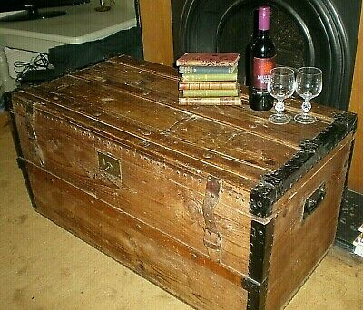 Reduced! Lovely Antique Vintage Large Wooden Chest Trunk - Coffee Table Storage