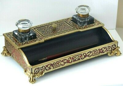 RARE Large Antique 19th Century French Boulle faux Tortoiseshell Inkwell Stand