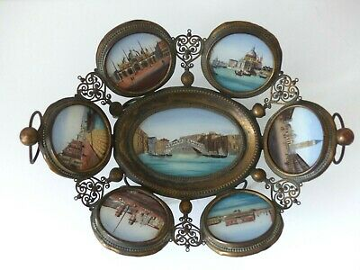 RARE Large Antique 19th Century Eglomise Grand Tour VENICE Card Tray – 7 Scenes