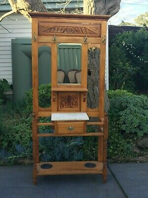 Antique Hall Stand w drawer and marble top!