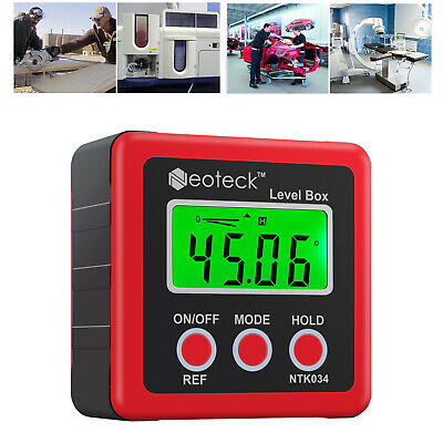 4*90° Digital LCD Protractor Magnetic Level Box Inclinometer Gauge Angle Finder