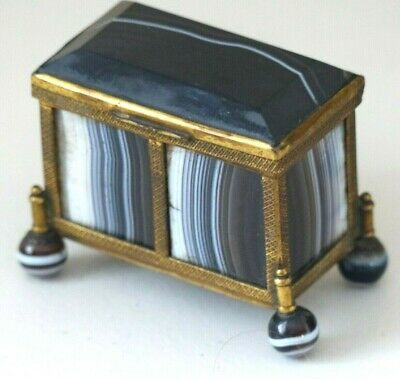Superb Antique 19th Century Banded Agate / Ormolu Table Box / Casket