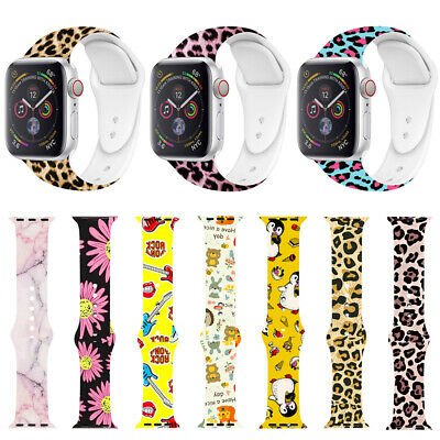 Leopard Silicone Sports Band Strap For Apple Watch Series 4/3/2/1 iWatch 40/44mm