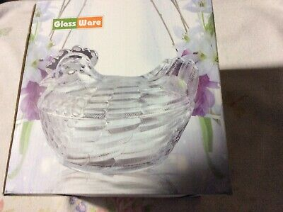 GlassWare Hen On Nest Clear New In Box