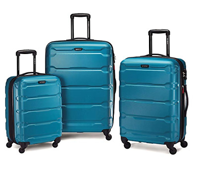 Samsonite Omni Expandable Hardside PC 3 Piece Set Spinner Wheels Caribbean Blue