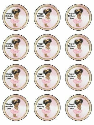 Afro puff ball baby girl pink edible cupcake Toppers Wafer or Icing x 12