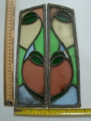 Vintage Stained Glass. 2 panels to make a Heart and Vine motif.