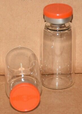 USP 20 mL Clear Sterile Vial With Orange Plain Flip Top Seal Any Qty.