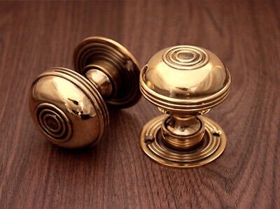 Traditional Antique Bloxwich Style Solid Brass Pair of Door Knobs Aged Brass