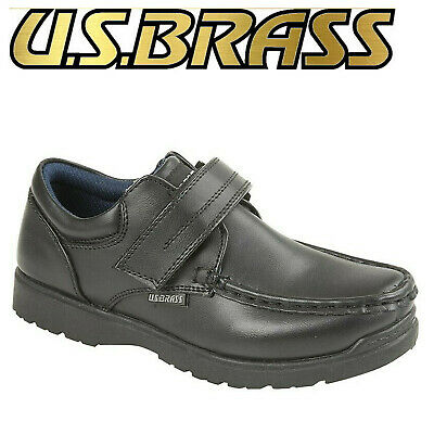 US Brass Ted Boys Black Shoes Kids Smart Casual School Shoes
