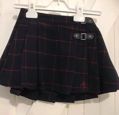 Girls 12-18 Months Kilt Pleated Skirt Navy Red Fully Lined Mothercare