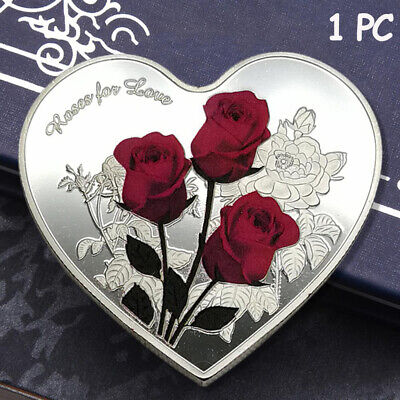 "52 languages Wedding Commemorative Coin Heart Shape  Rose Flower ""I Love You"""
