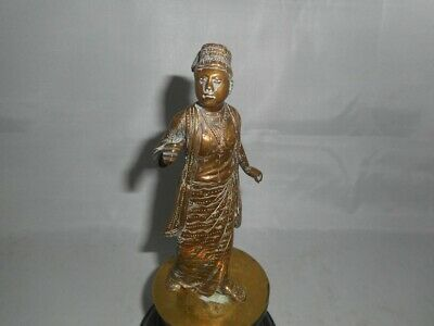Rare 19th Century Bronze Moroccan? Middle Eastern? Figure on Wooden Base