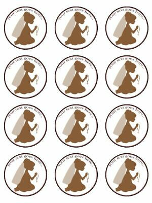 1st Holy Communion Praying Personalised edible cupcake Toppers Wafer/ Icing x12