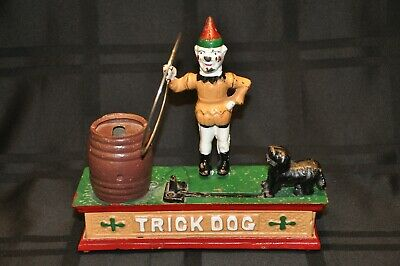 used Vintage Trick Dog Cast Iron Repro Hubley Penny Bank broken