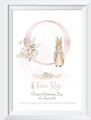 Personalised baby Peter Rabbit print picture gift christening nursery walldecor