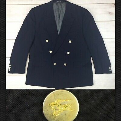 Burberry 46 Navy Double Breasted Gold Button Blazer Jacket Sport Coat Vintage