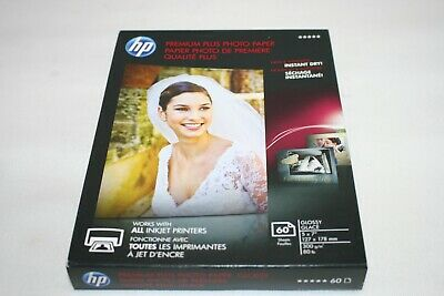 "HP CR669A Premium Plus Glossy Photo Inkjet Paper, 11.5 mil, 5x7"", 60 Sheets"