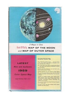Vintage 1959 Rand McNally Map of the Moon and Outer Space Large Wall Map