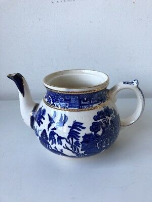 vintage Old Willow blue white and gold ceramic teapot (no lid) china tea