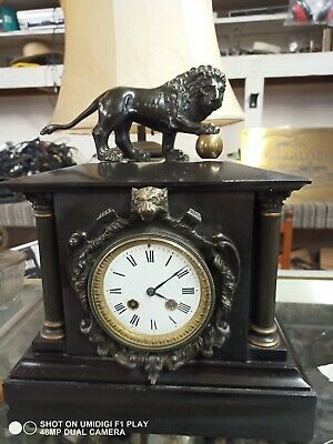 French 19th C. 8 Day  Bronze Lion Cat  Marble Mantle Clock as is