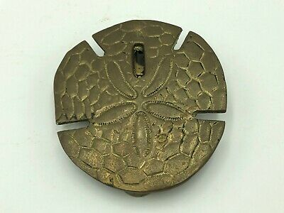 "Vintage Solid Brass Textured Sand Dollar Door Knocker 4""D Beach Sea Ocean Theme"