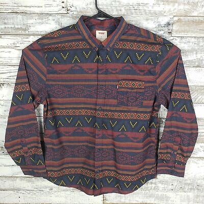 Levis Mens Button Down Shirt Long Sleeve Blue Red Yellow Aztec Print Size XXL