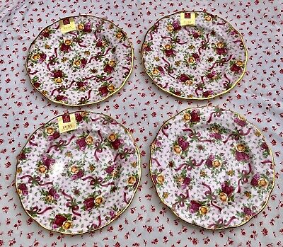 """4 Royal Albert OLD COUNTRY ROSES Ruby Celebration Pink Chintz 8"""" SALAD PLATES"""