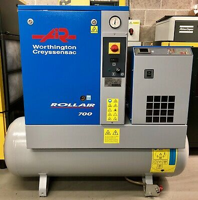 Worthington RLR700/200 Receiver Mounted Rotary Screw Compressor, With Dryer!