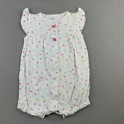 Girls size 6 months, Carter's, spotted cotton romper / playsuit, rainbow, FUC
