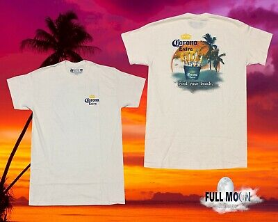 Light Find Your Beach #1 Beer White 2 Sided T-Shirt New NOS Sz LG Corona Extra