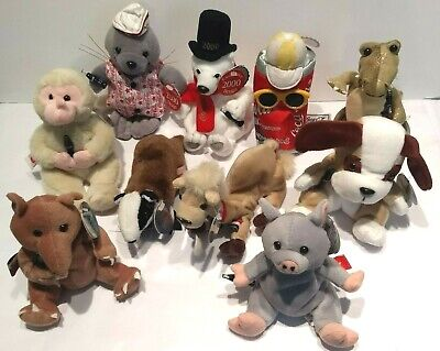 Coca-Cola Lot of 10 Plush Animals  Coke Can Different Flags All Have Hang Tags
