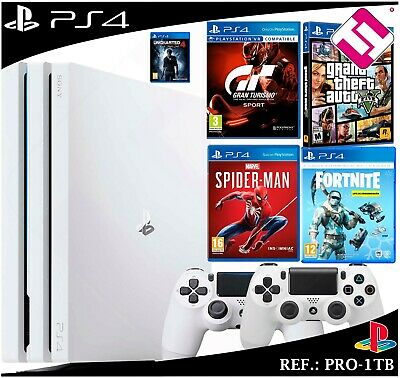 Ps4 Playstation 4 Pro 1Tb Blanca 2 Mandos Gta Gt Spiderman Fornite Uncharted 4