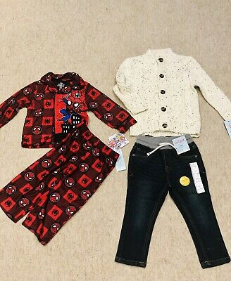 Boys Outfit Jeans and Sweater Spiderman PJs 2-3 Years 2T New!