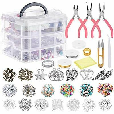 Jewelry Making Supplies, Tools Kit With Pliers, Beading Wire, Beads And Charms