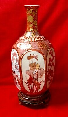 Japanese Kutani Hexagonal Vase, Antique Hand Painted Signed - at fault