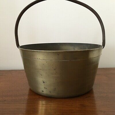 Antique brass jam pan with fixed iron handle ~ weights 4.3kg