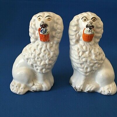 Victorian mid C19th Staffordshire Flatback Pair of King Charles spaniels