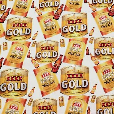 Fabric Xxxx Gold Australian Lager Beer Print Polycotton Blend 1/2 Yard 1/2 Meter